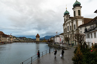 "The famous ""Chapel bridge"", and Jesuit Church, in Luzern, Switzerland."