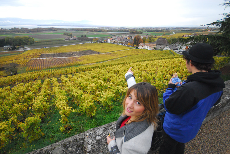 Anastasia (along with Nikolaus) points out that we can see the water jet by Geneva on Lake Geneva from our church perch along the open cellar wine tour in Vinzel.