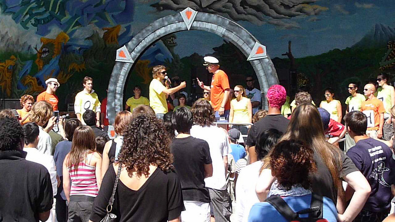 Paper Scissors rock competition gets started in Lausanne.  I lost pretty quick.