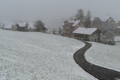 Snowy view from the Paxmontana Hotel, Flueli-Ranft, Switzerland.