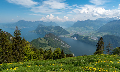 Grand views of Alpnacher See and Lake Luzern with the Alps beyond.