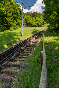 The trail to Pilatus often follows the funicular tracks.