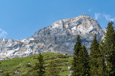 The highest peaks of Pilatus, hotels and all; the funicular is visible just left of center.