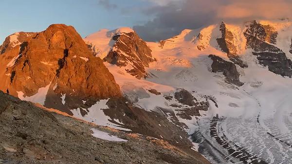 Sunset video panorama of Piz Palü, Bellavista, Bernina, and Morterasch, from Diavolezza.