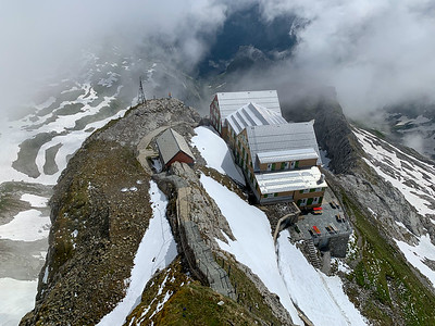 Looking down at the Altsäntis summit inn and restaurant, from the summit of Säntis