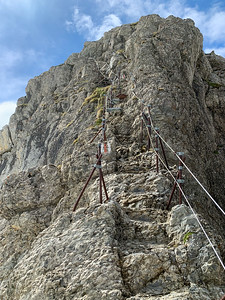 Looking back at rock steps we just descended, in the final meters before reaching the summit of Säntis.