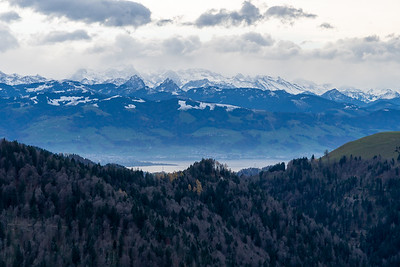 View of Zurichsee and the Glarusalps from the descent of Schnebelhorn.