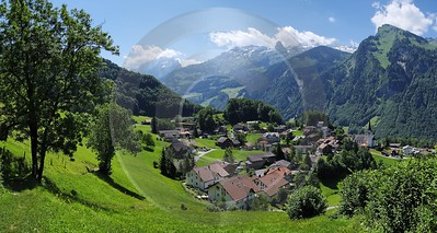 Illgau Dorf Sommer Wiese Muotathaler Alpen Images Image Stock Snow Landscape Photography - 002568 - 28-06-2008 - 7731x4126 Pixel