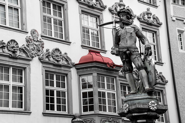 switzerland, shaffhausen, architecture, bay windows, red roof, art, statues, soldier, crossbowman
