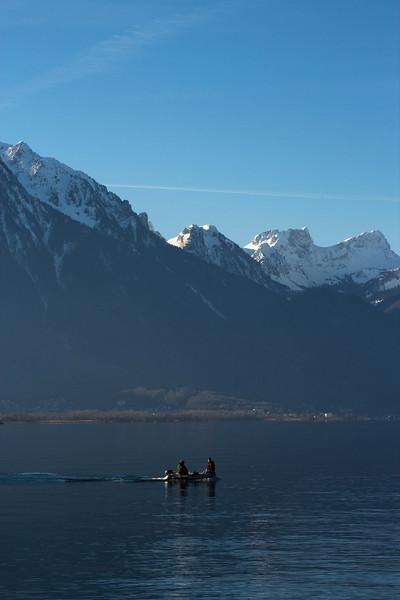 Switzerland, Chillon, Fishing Boat SNM