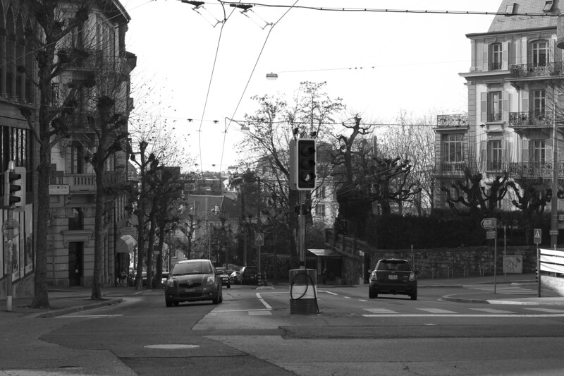 Switzerland, Lausanne, Traffic Intersection SNM