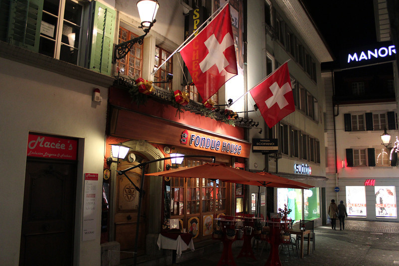 Switzerland, Lucerne, Fondue Restaurant, Old Town