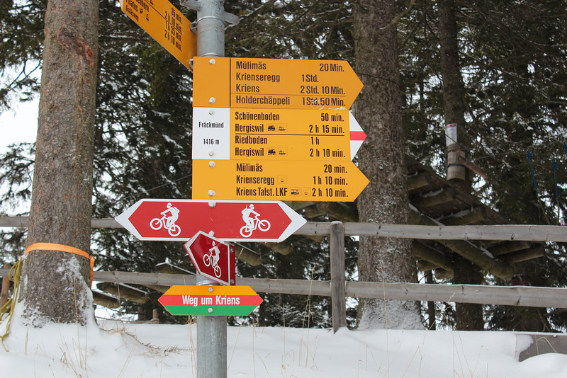 Switzerland, Mt Pilatus, Hiking Direction Sign
