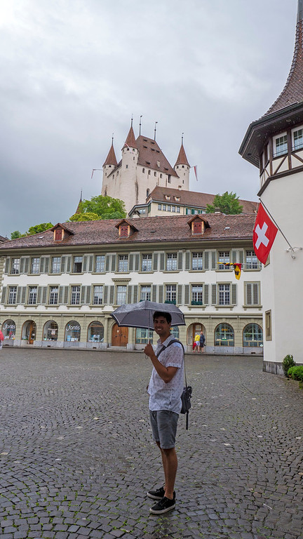 Rathausplatz, or Town Hall Square with Thun Castle in distance