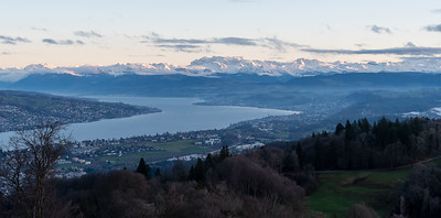 View of Zurichsee and the Alps, from Uetliberg, at sunset.