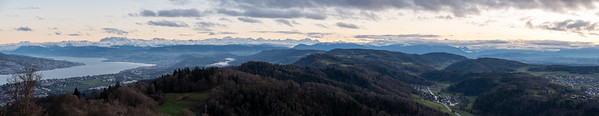 Panoramic view of Zurichsee and the Alps, from Uetliberg, at sunset.