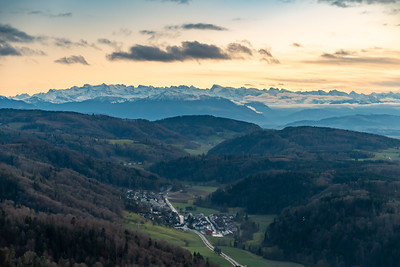View of the Alps, from Uetliberg, at sunset.