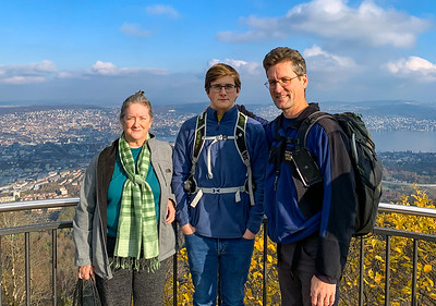 Pam, Andy, and David enjoy the view from Uetliberg, Zurich.
