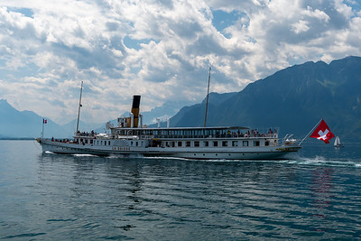 La Suisse, one of the vintage paddlewheel ships touring Lake Geneva.