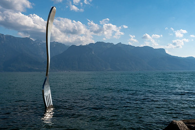 An unusual sculpture on the lakehore in Vevey, Switzerland.