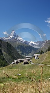 Zermatt Findeln Matterhorn Wolken Blau Himmel Panorama Fine Art Photography For Sale - 004424 - 11-08-2009 - 4042x7446 Pixel