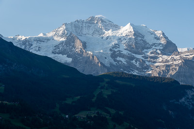 Morning view of Jungfrau peak from Mönchblick viewpoint, Wengwald.
