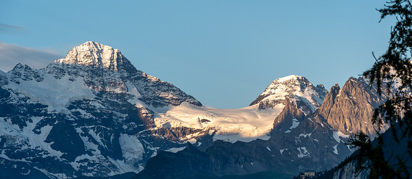 Morning view of Breithorn peak from Wengen.