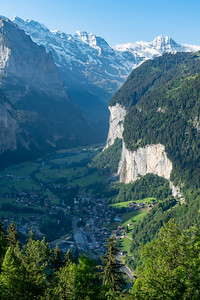 Morning view of Lauterbrunnen valley and Staubbach falls from Mönchblick viewpoint, Wengwald.