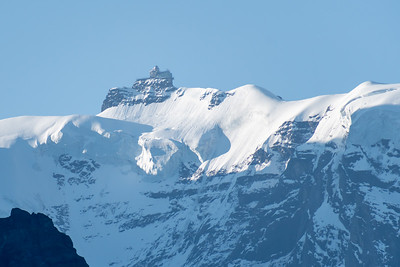 Morning view of Jungfraujoch station from Mönchblick viewpoint, Wengwald.