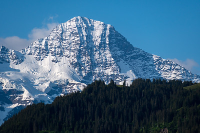 Morning view of Breithorn peak from Mönchblick viewpoint, Wengwald.