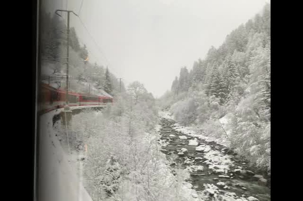 A snowy train ride to Zermatt.