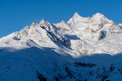 Morning view of the Alps, from Sunnegga, above Zermatt.