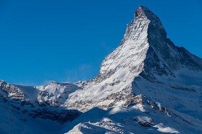 Morning view of the Mattherhorn, from Sunnegga, above Zermatt.