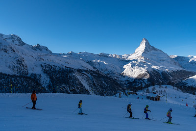 Morning view of Sunnegga, above Zermatt.