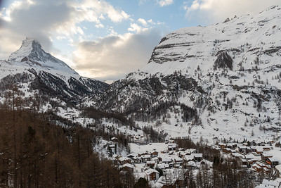 The Matterhorn seen from the Goldergrat Bahn, in Zermatt, Switzerland.