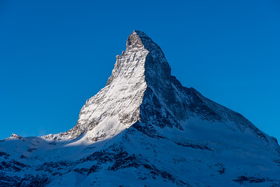 View of the Matterhorn at sunrise, from Sunnegga, above Zermatt.