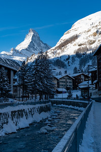 Morning view of the Mattherhorn, from Zermatt.