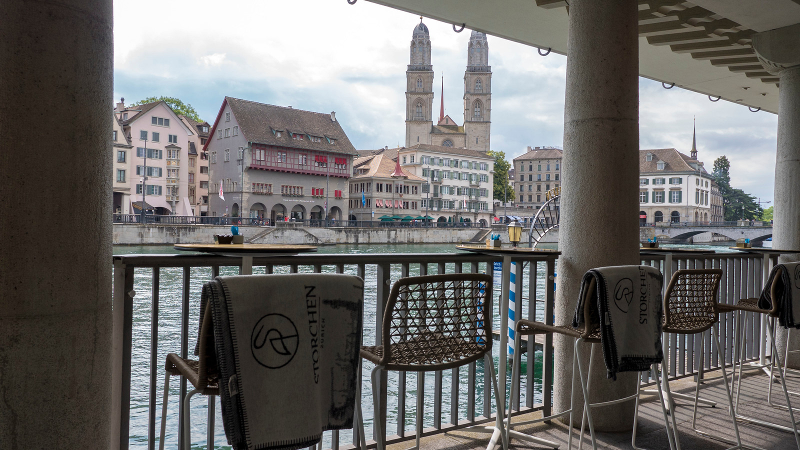 The terrace on the river at the Hotel Storchen Zurich.