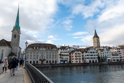 Fraumunster church (L) and St. Peters Church (R), Zurich.