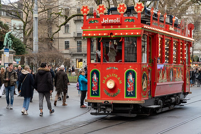 An old tram converted into a Santa ride for small children. Zurich.