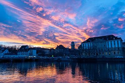 Sunset over Zurich.