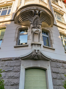 One of the many fanciful decorations on residential buildings in our area of Zurich.