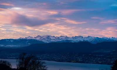 Sunrise over the Alps, from Zurichberg observation point.