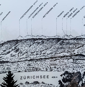 Map of the central Alps, from Zurichberg observation point.