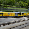 Rhb 23403 / D3 and 23401 / D1 on shed at Poschiavo 07/06/16