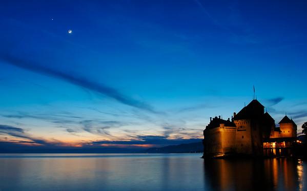 Chateau de Chillon at sunset