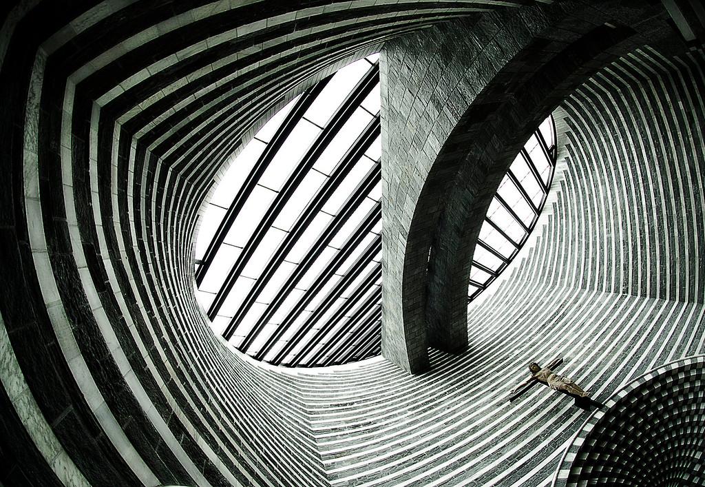 Mario Botta's Chiesa di San Giovanni Battista; Mogno; Valle Maggia; Tessin; Switzerland