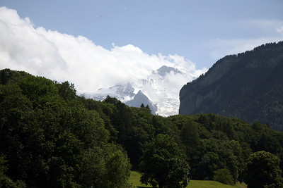 The Jungfrau (elevation:13,684 ft) and the Lauterbrunnen Valley as seen from Interlaken, Switzerland.  Bernese Alps.