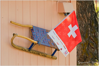 A toboggan on the wall, in Samedan, Switzerland
