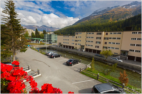 Morning view thru our window at Hotel Nolda, St. Moritz, Switzerland